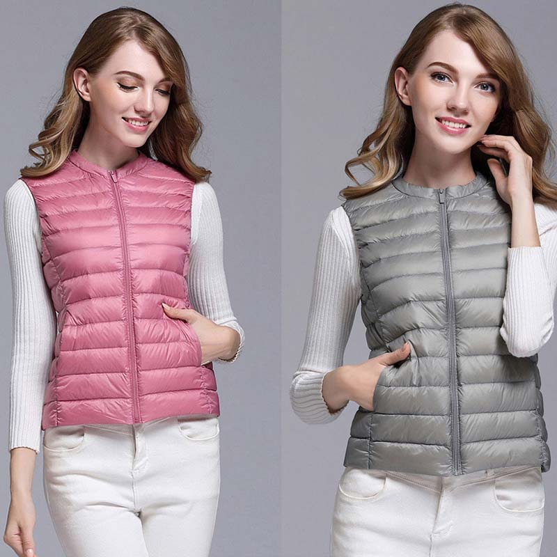 Autumn White Duck Down Women's Short Vest Jacket Sleeveless Portable Office Lady Women Vests Coat 2019 Winter Waistcoat Female