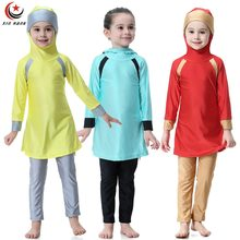 Girls Swimsuits Hoodie Muslim Swimwears Light Color Full Cover Children Two-piece Arab Islam Long Swimming Diving Suits Burkinis(China)