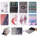 Fashion Feather Lotus Cloud Pattern PU Leather Flip Wallet Case For Apple iPad 6 Air2 Back Cover Coque For iPad Air 2 9.7''