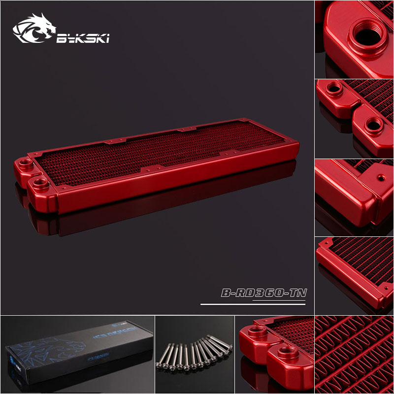 Bykski B-RD360-TN 360mm 3 x 12cm Copper Radiator Liquid Water Cooling Red