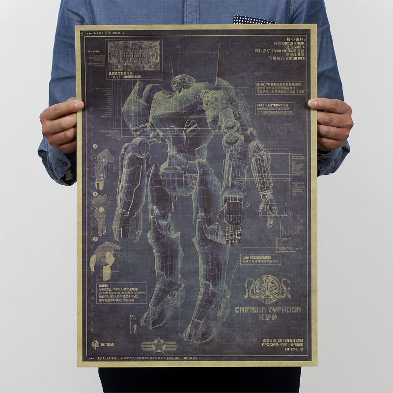 top mode vintage affiche peinture mech warriorrobot conception dessinskraft papier affiche - Affiche Garcon Robot