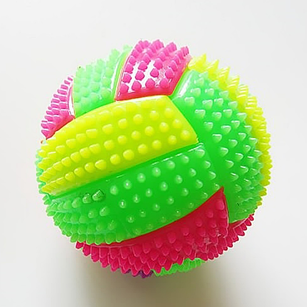 Fitness Musle Massage Balls LED Volleyball Flashing Light Up Color Changing Bouncing Hedgehog  Kids Sports Balls