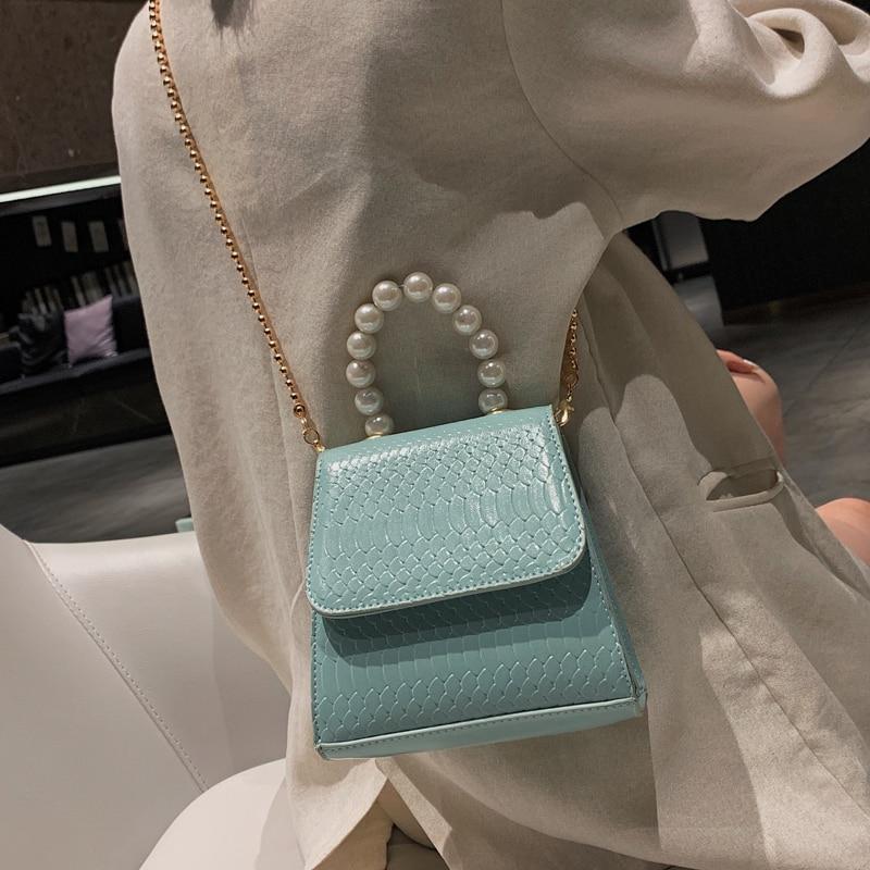 Pearl Tote Bag 2019 Fashion New High Quality PU Leather Women's Designer Handbag Crocodile Pattern Chain Shoulder Messenger Bags