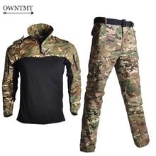Армейская Военная Униформа BDU Камуфляж дышащий боевой костюм страйкбол военная игра одежда набор быстросохнущие рубашки+ тактические брюки