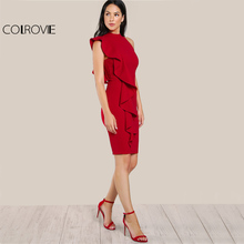 COLROVIE Red Ruffle Summer Dress 2017 One Sided Exaggerated Frill Sexy Bodycon Dress Women High Neck Zip Elegant Midi Club Dress