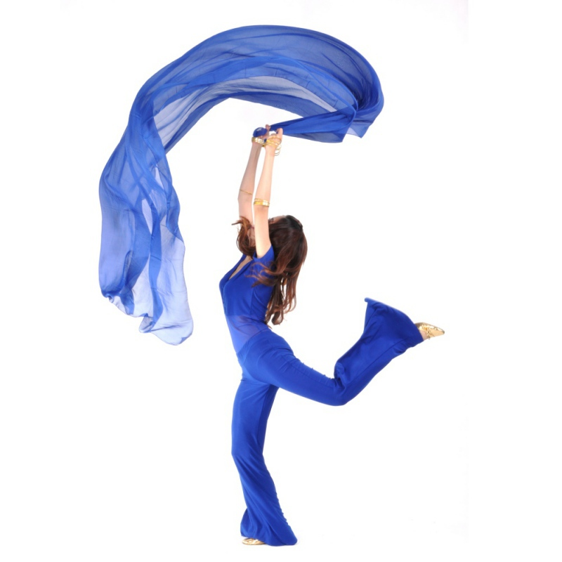 Dress Women Dace Costume Belly Dancing Accessories Chiffon Yarn Scarf Solid 2.5*1.2m Belly Dance Veils Stage Wear