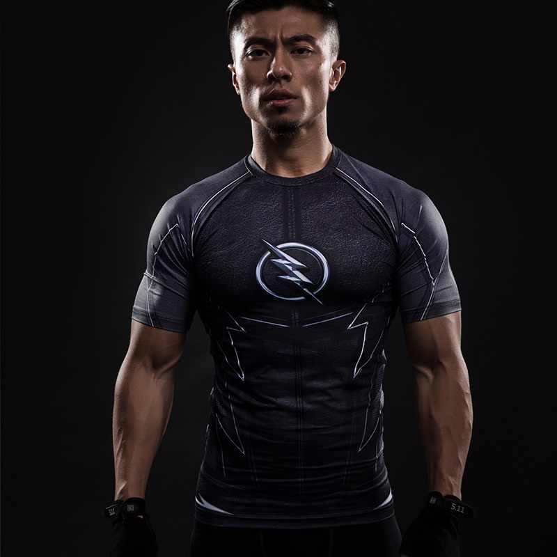 נס פלאש דחיסת חולצת קפטן אמריקה כושר MMA החולצה גברים של קצר שרוול למעלה כדורגל חליפת ריצה הדוק חולצה