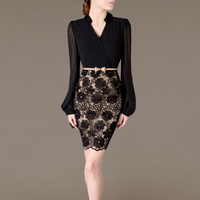 Autumn Office Dress Women Long Sleeve Patchwork Lace Dress Sexy V Neck Belt Shirt Robe Femme