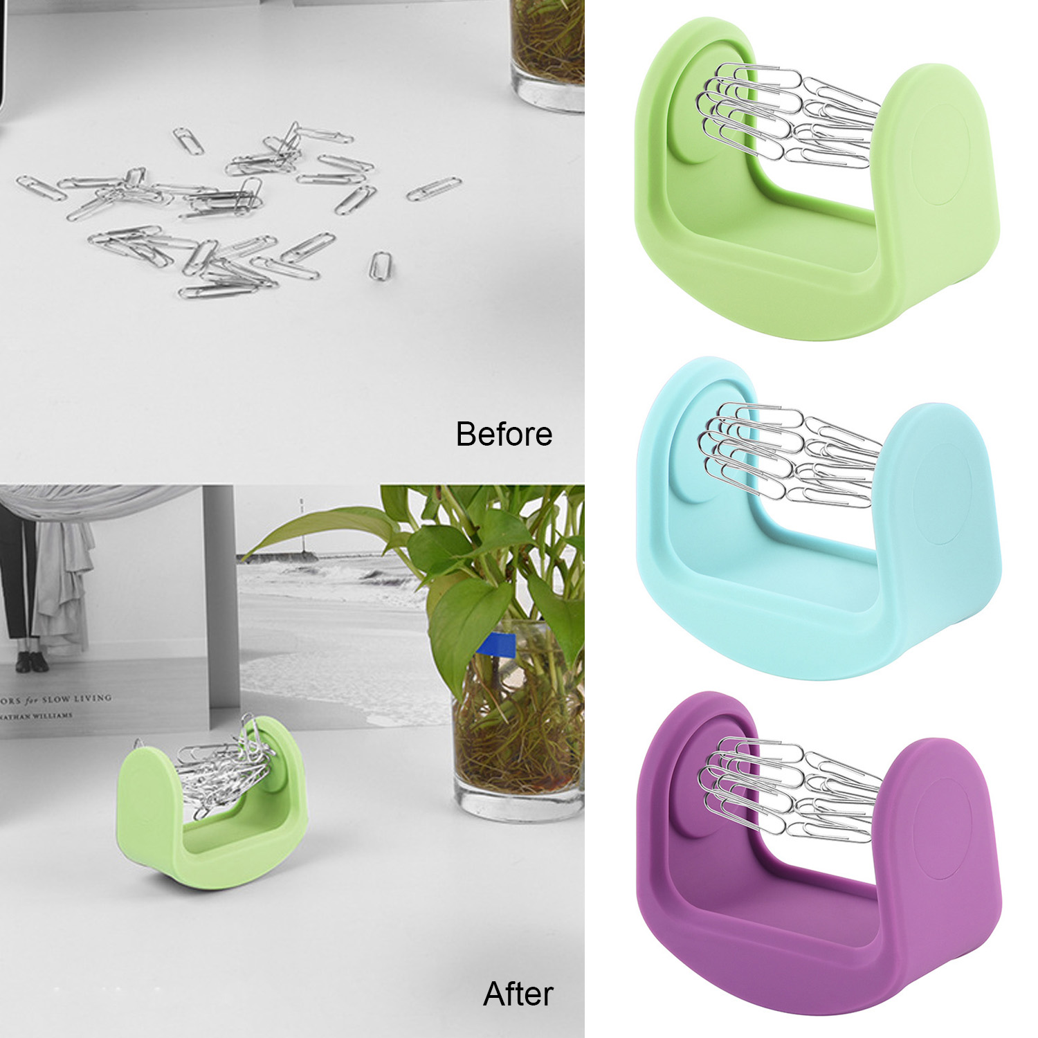 Magnetic Silicone Paper Clip Swinging Holder Office Desk Storage Organizer Desk Toy Decor