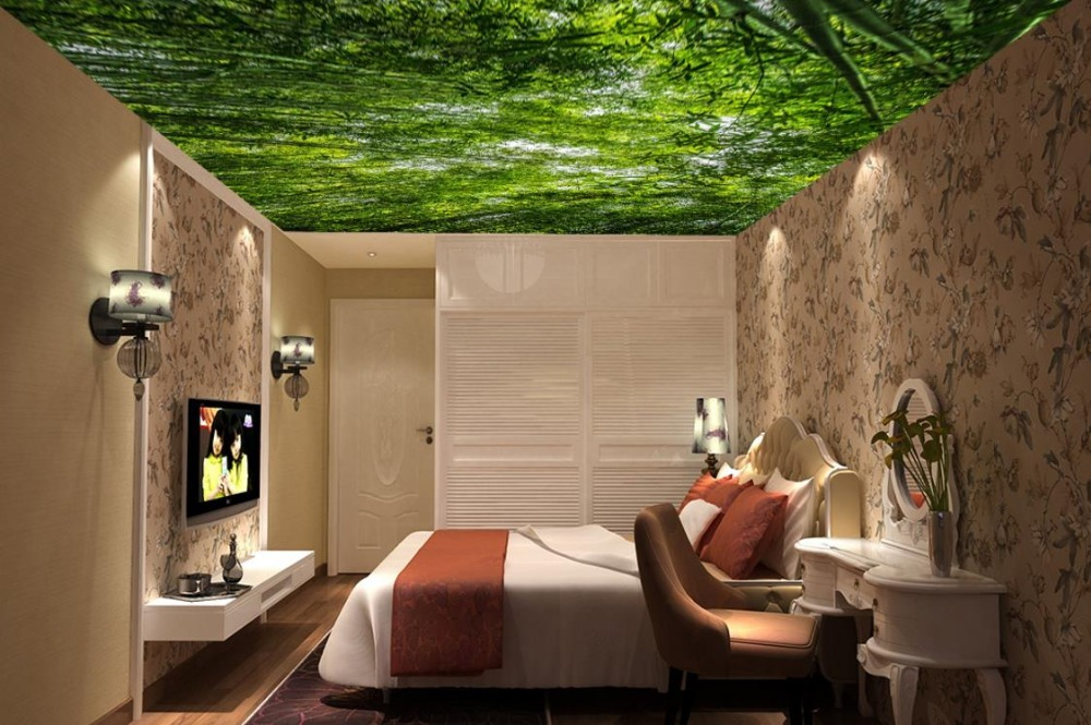 Wallpaper 3d Nature Green Forest Landscape Soundproof Ceiling 3D Wallpaper Living Room Room Home Improvement Ceiling Murals blue earth cosmic sky zenith living room ceiling murals 3d wallpaper the living room bedroom study paper 3d wallpaper