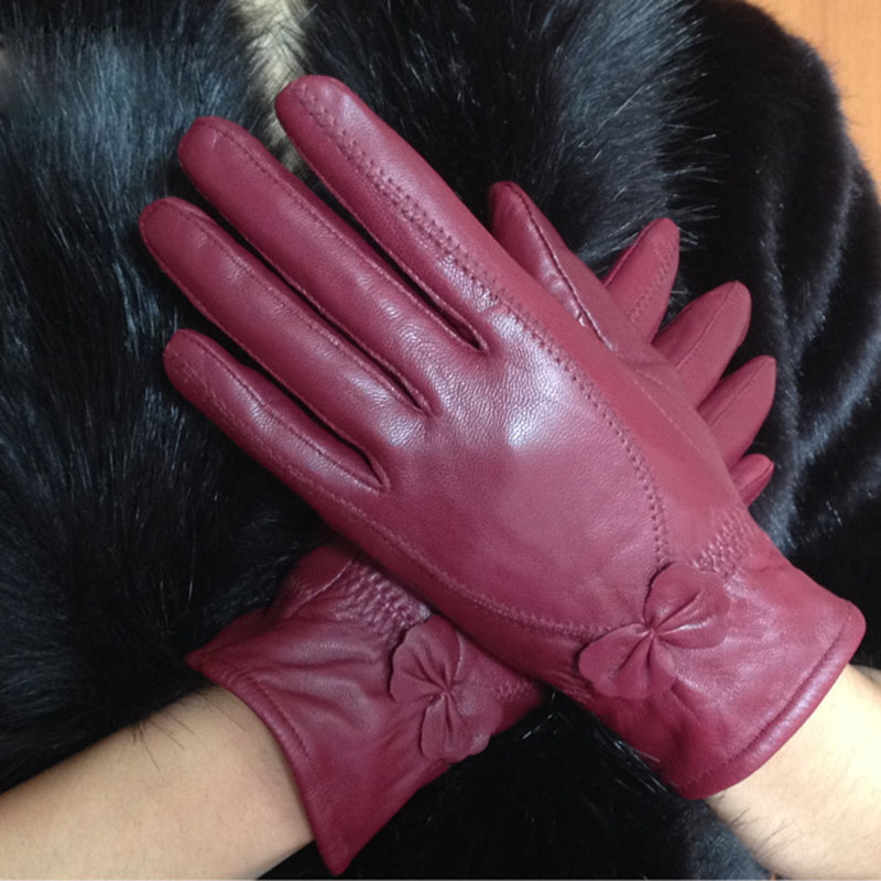 Luxury Women Hand Genuine Leather Gloves Ladies Warm Winter Long Finger Sheep Skin Stylish Hand Warmer  Real Leather Glove