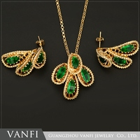 Elegant High Grade Simulated Crystal Jewelry Green Stone Earring Pendant Necklace Perfect Female Jewelry Set
