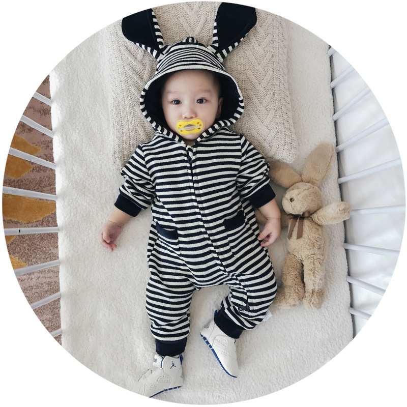 2017 Autumn Baby Boys Girls Clothes Set Long-sleeve Newborn Baby Romper Jumpsuit roupas bebe Striped Hooded Baby Outfit Costume 4pcs set newborn baby clothes infant bebes short sleeve mini mama bodysuit romper headband gold heart striped leg warmer outfit