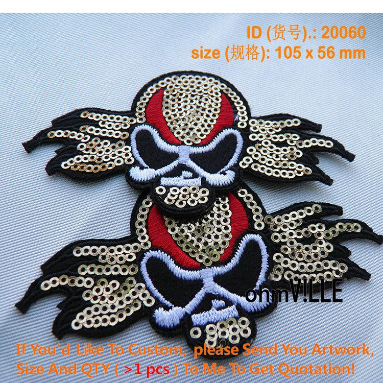 2016 New Promotion Appliqued 3d Parches Bordados Fallout 20060 Sequins Skull Embroidery Patch 100% Quality Guarantee Iron On