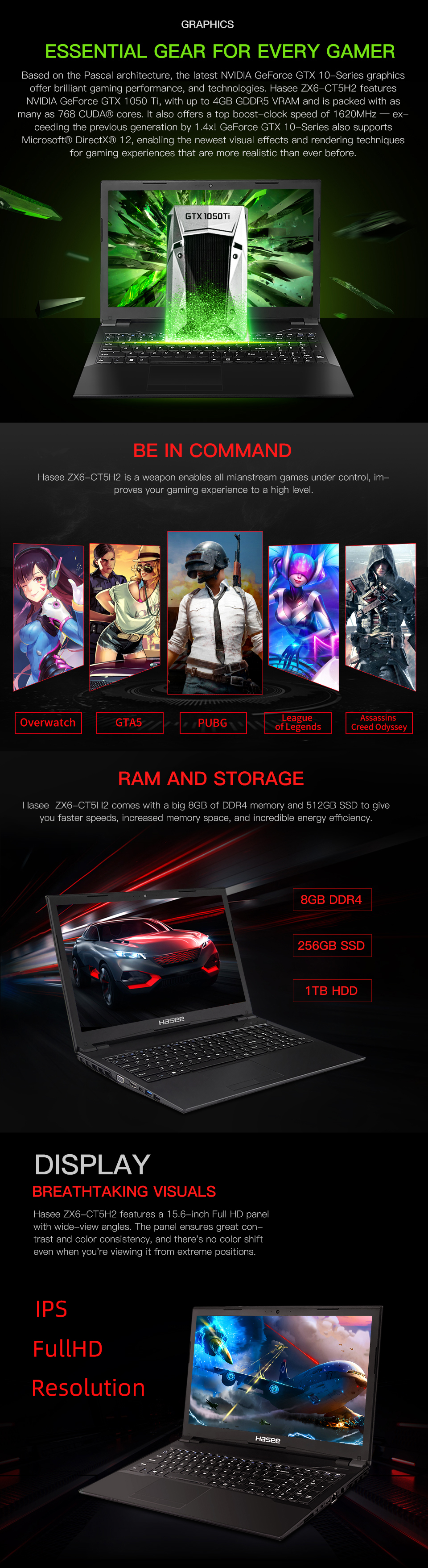 Hasee ZX6-CT5H2 Laptop for Gaming(Intel Core I5-9400+GTX 1050Ti/8GB RAM/256G SSD+1THDD/15.6''IPS  45%NTSC)Hasee Desktop-grade