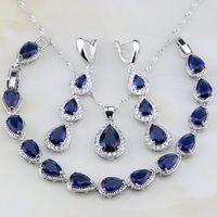 Trendy Water Drop Blue Sapphire White Topaz 925 Sterling Silver Jewelry Sets For Women Earrings Pendant