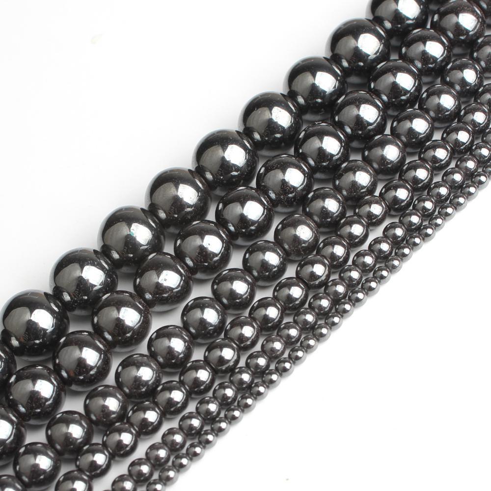 Оптовая продажа, натуральный камень, черный гематит, круглые бусины 2, 3, 4, 6, 8, 10, 12 мм, 16 дюймов, размер для изготовления ювелирных изделий