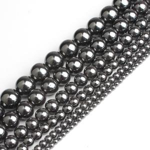 "wholesale Natural Stone Black Hematite Round Beads 2 3 4 6 8 10 12MM 16"" Per Strand Pick Size For Jewelry Making(China)"