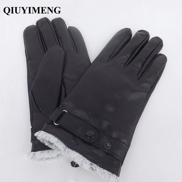 Winter New Gloves For Male Genuine Leather Men Gloves Warm Full Finger Goatskin Mittens High Quality Black Touch Screen Mitten