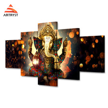 Artryst Canvas Painting Wall Art Frame Home Decor Pictures 5 Pieces India Tibetan Buddhism Ganesha Poster Room HD Printed Photo