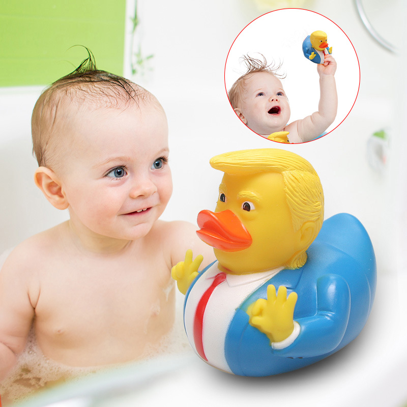 Donald Trump Rubber PVC Duck Bath Duck Squeaky Baby Kids Animals Floats Toys