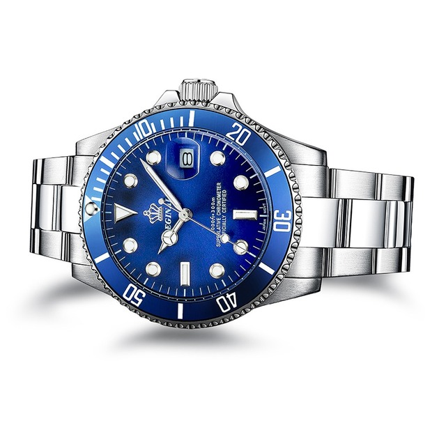 Luxury Reginald Watch Men Rotatable Bezel GMT Sapphire Date Stainless Steel Sport blue dial Quartz Watch Reloj Hombre