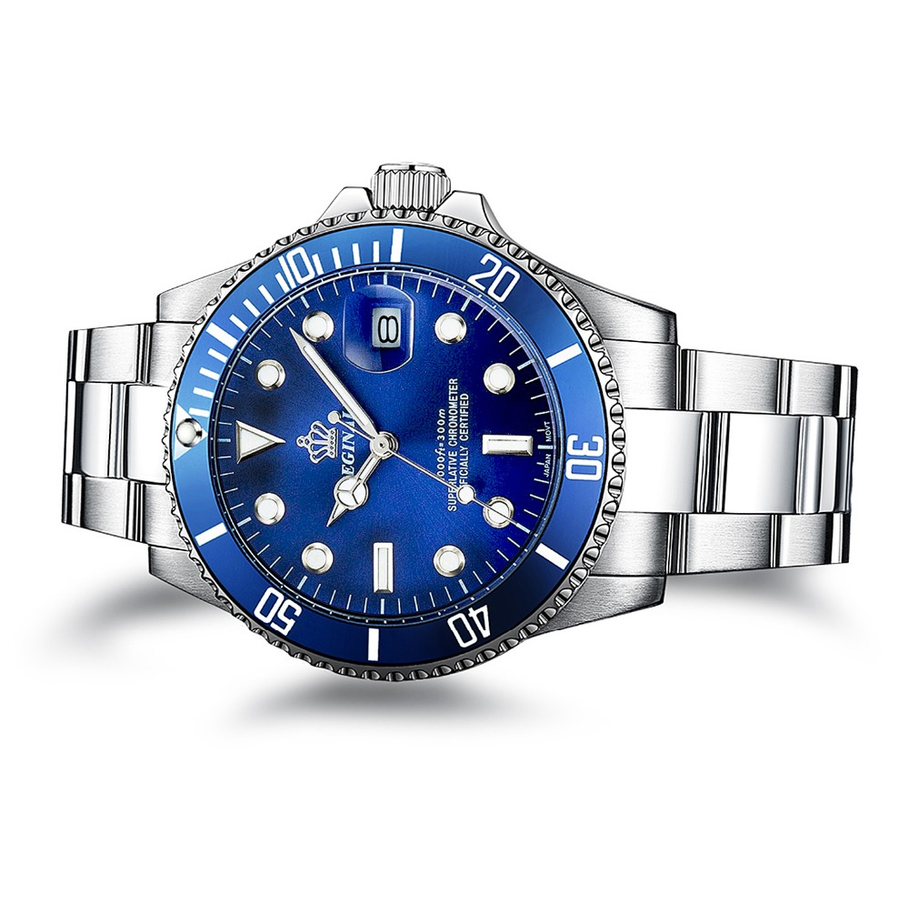 Luxury Reginald font b Watch b font Men Rotatable Bezel GMT Sapphire Date Stainless Steel Sport