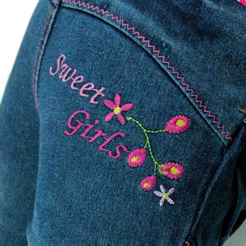 2-6Y Kids Slim Jeans Teens Blumen Sticken Strass Weibliches Kind - Kinderkleidung - Foto 5