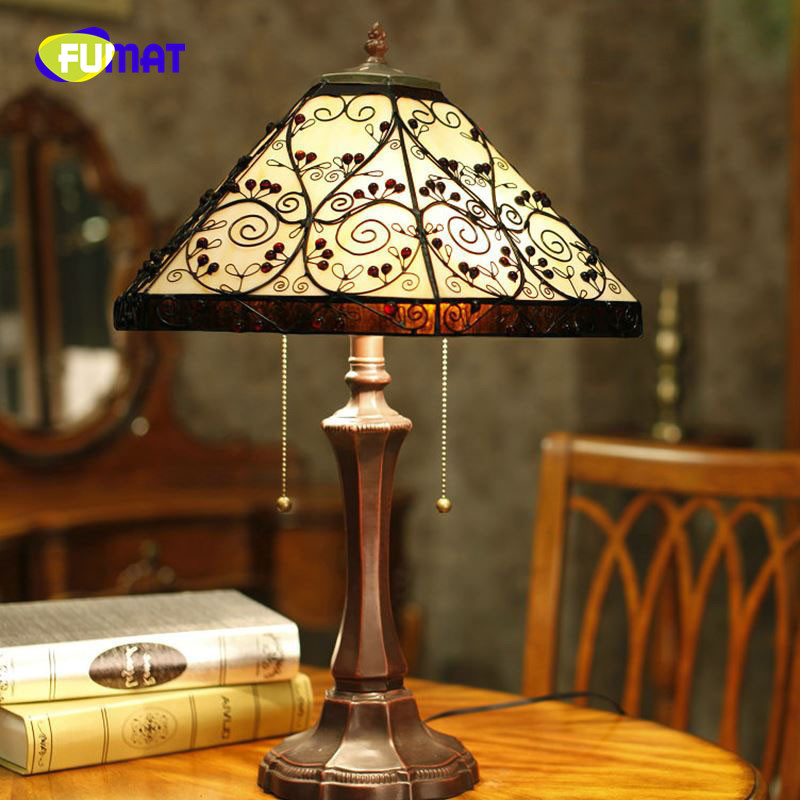 FUMAT Table Lamp European Style Vintage Table Lamp Glass Tiffany Hexagon Bedside Lamp Home Decoration Living Room Stand Lamp