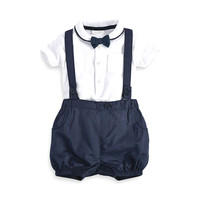3pcs Toddler Baby Infant Boys Outfits Bow Tie White T Shirt Cute Navy Blue Bib Pants
