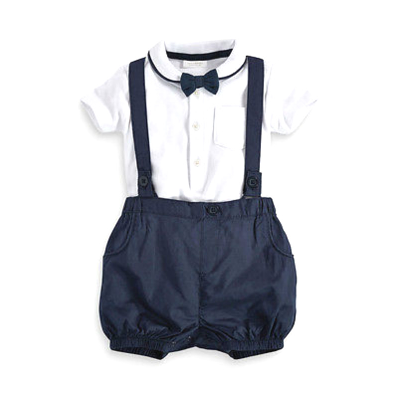 Baby Boy Pants Suit 2pcs Toddler Baby Infant Boys Outfits Bow Tie White T-shirt Cute Navy Blue Bib Pants Kids Formal Clothes Set 2017 toddler infant baby boy shoes navy blue casual newborn boys sneaker soft sole girls shoes tenis menino