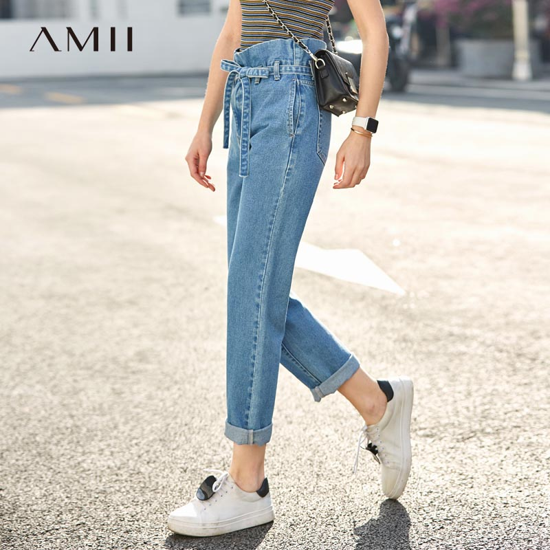 Amii Causal Straight Jeans for Women 2019 Streetwear Solid Cotton Cuffs Adjustable Belt Loose Boy Friend