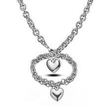 8mm Wide Trendy Women's 316L Stainless Steel Silver Polished Rolo O Link Chain Charms Heart Necklace&Bracelet Gift Jewelry Sets