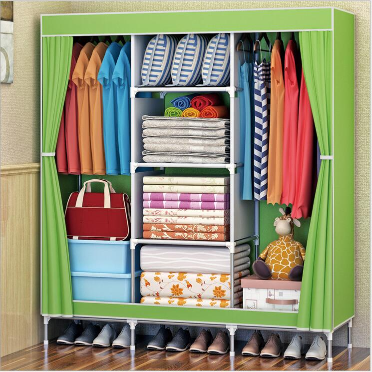 Wardrobe Non-woven Fabric Folding Cloth Ward Storage Assembly Closet Large Size Reinforcement Combination duh non woven wardrobe combination wardrobe double folding wardrobe assembling home furnishing decoration coat hangers locker
