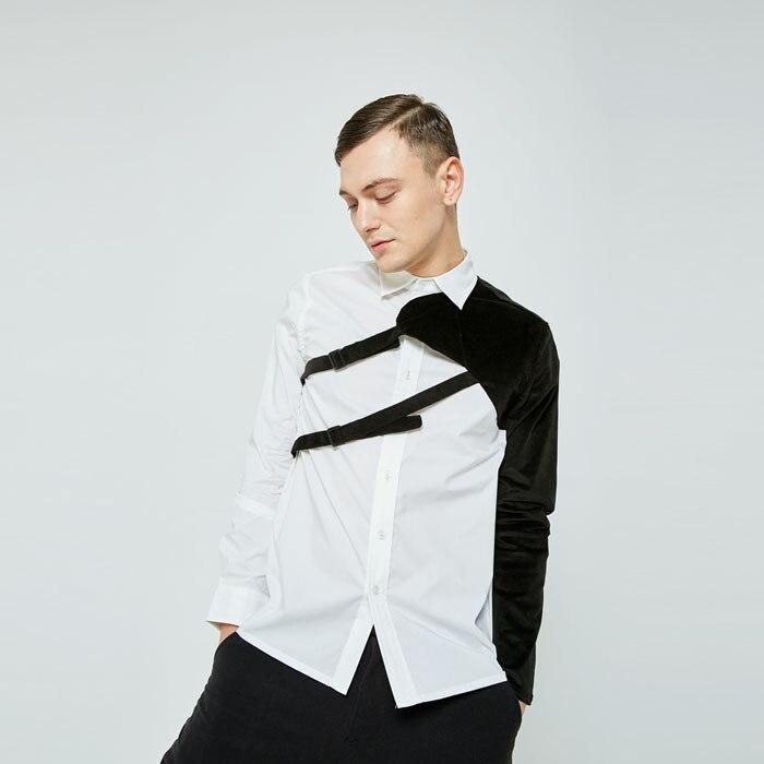 S-6XL!!Spring And Autumn New Original Custom Men Retro Simple European And American Personality Splicing Shirt
