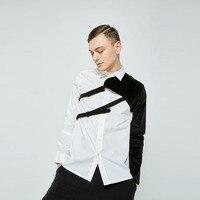 S 6XL!!Spring and autumn new original custom men retro simple European and American personality splicing shirt