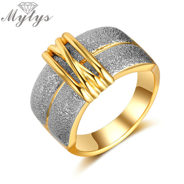 Mytys Trendy Fashion Gold Color and Silver Color GP Lady Rings Two Tone Gold Fac