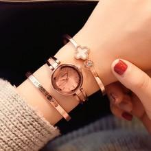 Fashion Rose Gold Women Bracelet Watches Ulzzang Brand Rhinestone Luxury Elegant Popular Watches for Women Casual Ladies Clock