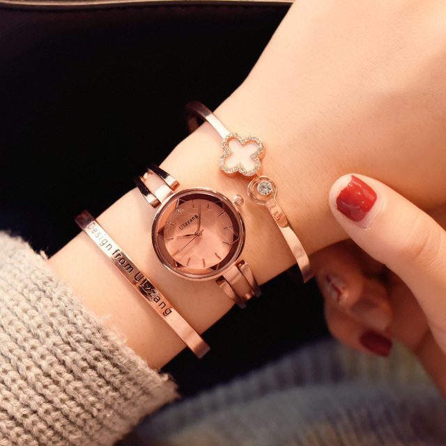 Fashion Rose Gold Women Bracelet Watches Ulzzang Brand Rhinestone Luxury Elegant