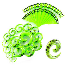 Ybollar 52pcs/lot Acrylic Spiral Taper Ear Expanders Gauges Stretching Snail Plugs and Tunnels Body Piercing Jewelry