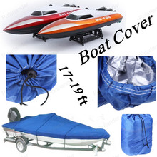 "Hot Sell Boat cover fishing boat cover Waterproof 210D fishing Boat Cover for 17-19ft Beam 125"" Trailerable Fish Ski V-Hull Blue"