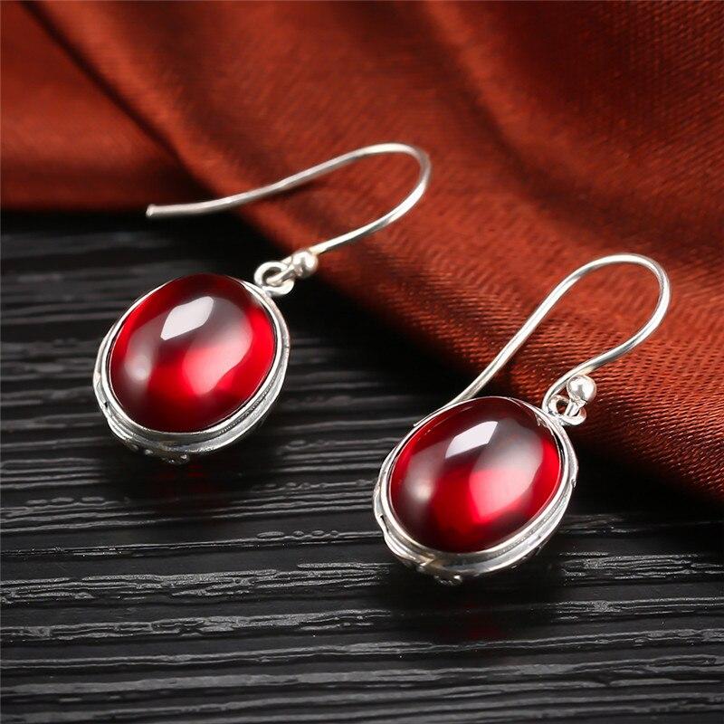 e2bcf292bfcb V.YA Real 925 Sterling Silver Jewelry Jacinth Stone Long Earrings For Women  Lady Party Wedding Gift Elegant Drop Earrings-in Drop Earrings from Jewelry  ...