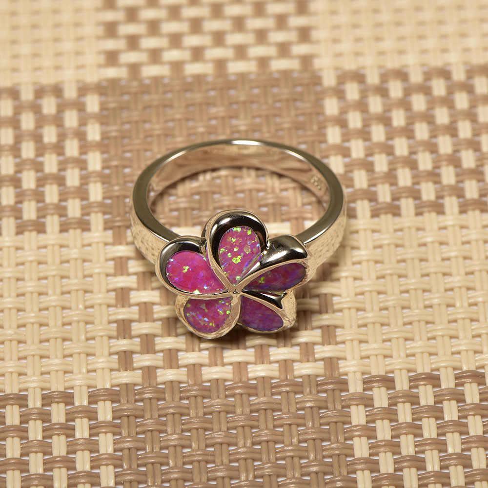 Weinuoประเภทดอกไม้สีชมพูโอปอลแหวนเงินแท้925 Top Qualityเครื่องประดับแหวนแต่งงานขนาด5 6 7 8 9 10 11 A248