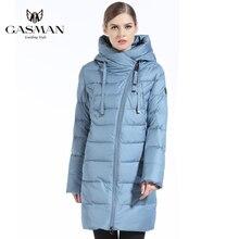 GASMAN  Fashion Women Down Jacket Medium Length Hooded Parka