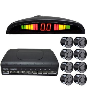 Weatherproof 8 Rear Front View Car Parking Sensor Reverse Backup Radar Kit with LED Display Monitor car parking system