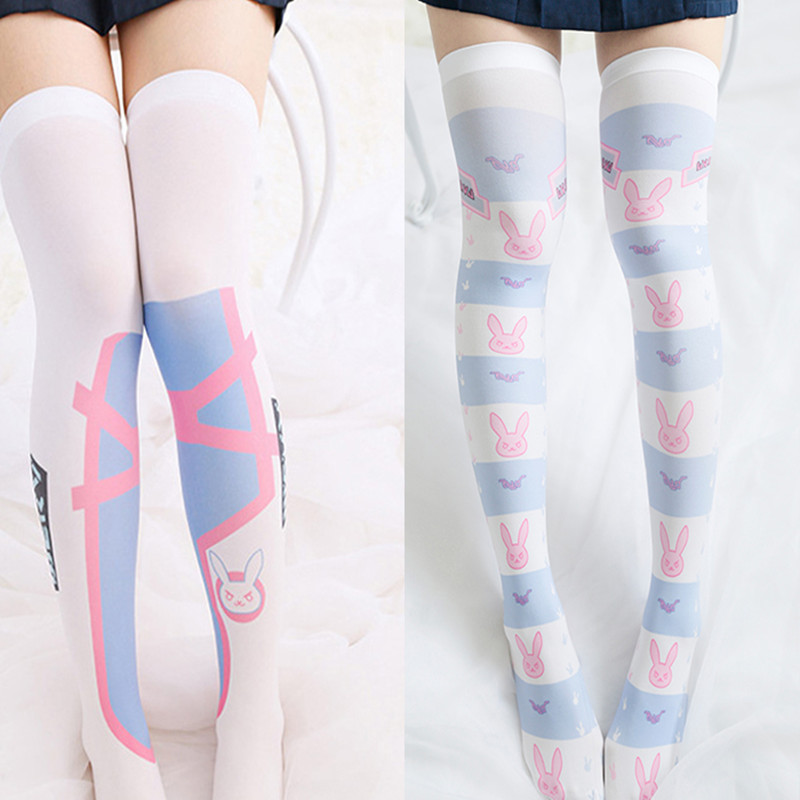 Cosplay Game OW DVA Reaper Thigh Stockings Lolita Printed Pantyhose D.VA Over Knee Socks Costume