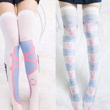 cc1e98d76 Cosplay Game OW DVA Reaper Thigh Stockings Lolita Printed Pantyhose D.VA  Over Knee Socks