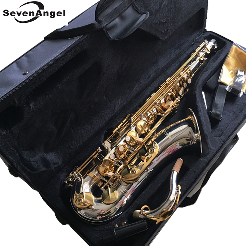 100% SevenAngel Brand Tenor Saxophone Bb tone Woodwind Musical Instrument Silver & gold Surface Provide OEM Sax