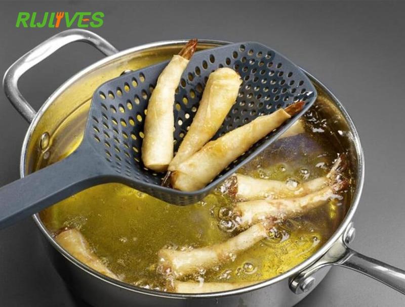 1PC Filter Cooking Shovel Vegetable Strainer Scoop Nylon Spoon Kitchen