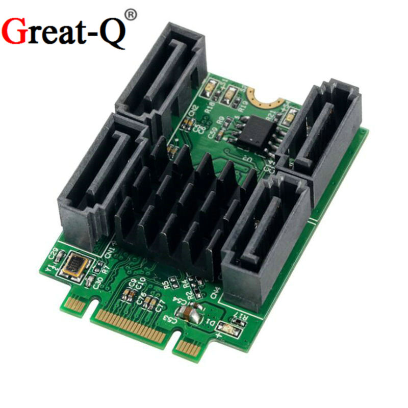Great-q m.2 (pcie) b + m chave slot para 4 portas sata 6g adaptador marvell 88se9235 chipest frete grátis